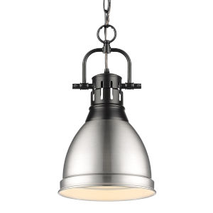 Duncan Matte Black Nine-Inch One-Light Mini Pendant with Pewter Shade