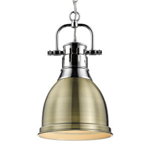 Duncan CH Chrome Nine-Inch One-Light Mini Pendant with Aged Brass Shade