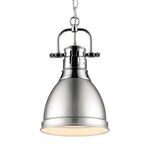Duncan CH Chrome Nine-Inch One-Light Mini Pendant with Pewter Shade