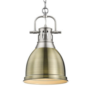 Duncan PW Pewter Nine-Inch One-Light Mini Pendant with Aged Brass Shade