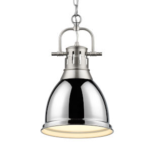 Duncan PW Pewter Nine-Inch One-Light Mini Pendant with Chrome Shade