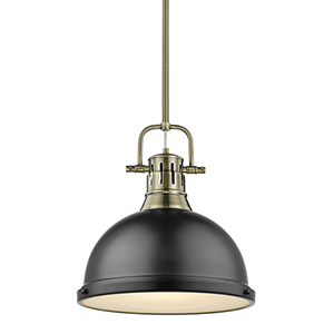 Duncan Aged Brass and Black 14-Inch One-Light Pendant