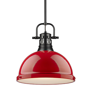 Duncan Black and Red 14-Inch One-Light Pendant