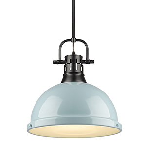 Duncan Black and Sea Foam 14-Inch One-Light Pendant