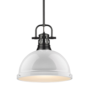 Duncan Black and White 14-Inch One-Light Pendant