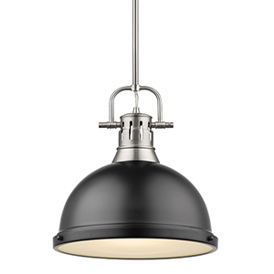 Duncan Pewter and Black 14-Inch One-Light Pendant