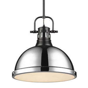 Duncan Matte Black 14-Inch One-Light Pendant with Rod Chrome Shade