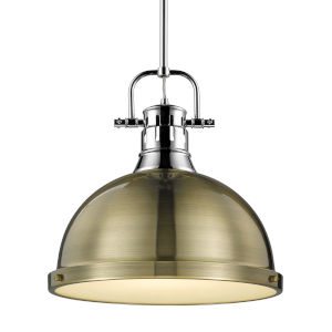Duncan CH Chrome 14-Inch One-Light Pendant with Rod and Aged Brass Shade