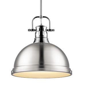 Duncan CH Chrome 14-Inch One-Light Pendant with Pewter Shade