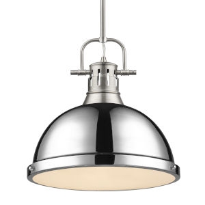 Duncan PW Pewter 14-Inch One-Light Pendant with Rod and Chrome Shade