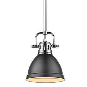 Duncan Chrome and Black Eight-Inch One-Light Mini Pendant