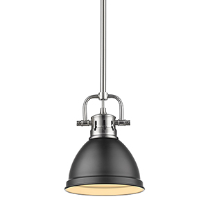 Duncan Pewter and Black Eight-Inch One-Light Mini Pendant