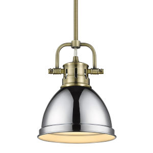 Duncan Aged Brass Seven-Inch One-Light Mini Pendant with Rod and Chrome Shade