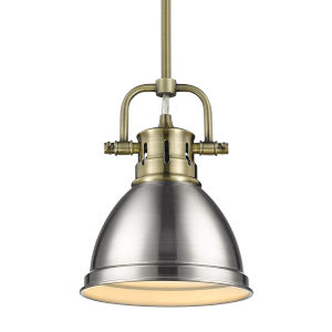 Duncan Aged Brass Seven-Inch One-Light Mini Pendant with Rod and Pewter Shade