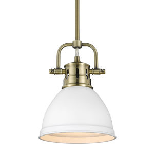 Duncan Aged Brass Seven-Inch One-Light Mini Pendant with Rod and White Shade