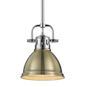 Duncan CH Chrome Seven-Inch One-Light Mini Pendant with Rod and Aged Brass Shade