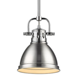 Duncan CH Chrome Seven-Inch One-Light Mini Pendant with Rod and Pewter Shade