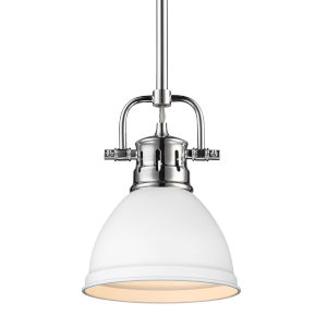 Duncan CH Chrome Seven-Inch One-Light Mini Pendant with Rod and Matte White Shade
