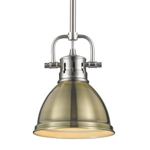 Duncan PW Pewter Seven-Inch One-Light Mini Pendant with Rod and Aged Brass Shade