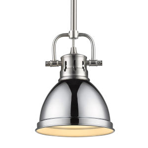 Duncan PW Pewter Seven-Inch One-Light Mini Pendant with Rod and Chrome Shade