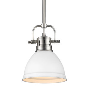 Duncan PW Pewter Seven-Inch One-Light Mini Pendant with Rod and Matte White Shade