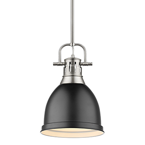 Duncan Pewter and Black 14-Inch One-Light Mini Pendant