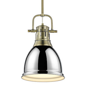 Duncan Aged Brass Nine-Inch One-Light Mini Pendant with Rod and Chrome Shade