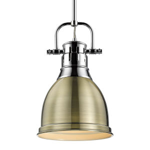 Duncan CH Chrome Nine-Inch One-Light Mini Pendant with Rod and Aged Brass Shade
