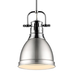 Duncan CH Chrome Nine-Inch One-Light Mini Pendant with Rod and Pewter Shade