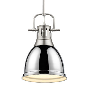 Duncan PW Pewter Nine-Inch One-Light Mini Pendant with Rod and Chrome Shade