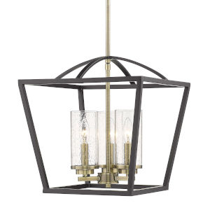 Mercer Matte Black Seeded Glass 15-Inch Three-Light Pendant