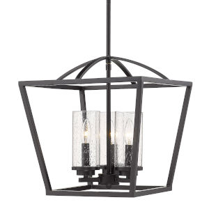 Mercer Matte Black 15-Inch Three-Light Pendant