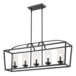 Mercer Matte Black 38-Inch Five-Light Island Pendant
