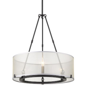 Alyssa Matte Black Three-Light Chandelier