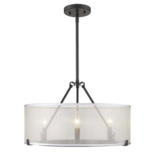 Alyssa Matte Black 20-Inch Three-Light Chandelier With Sterling Mist Shade