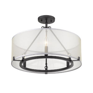 Alyssa Matte Black Three-Light Semi Flush Mount