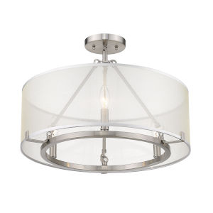 Alyssa Pewter Three-Light Semi Flush Mount