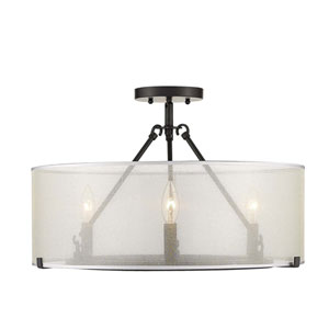 Alyssa Matte Black 20-Inch Three-Light Semi-Flush Mount With Sterling Mist Shade