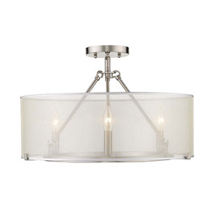 Alyssa Pewter 20-Inch Three-Light Semi-Flush Mount With Sterling Mist Shade