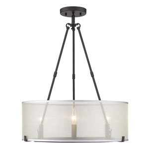Alyssa Matte Black Three-Light Semi-Flush Mount With Sterling Mist Shade