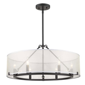 Alyssa Matte Black 25-Inch Six-Light Chandelier With Sterling Mist Shade