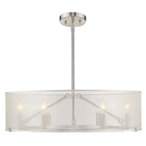 Alyssa Pewter Six-Light Chandelier With Sterling Mist Shade