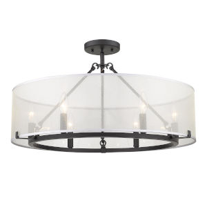 Alyssa Matte Black Six-Light Semi Flush Mount