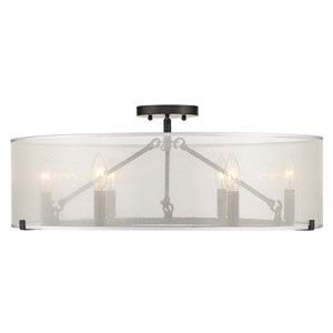 Alyssa Matte Black Six-Light Semi-Flush Mount With Sterling Mist Shade