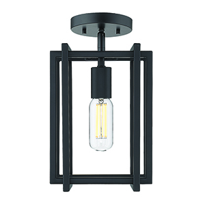 Tribeca Black Seven-Inch One-Light Semi-Flush Mount