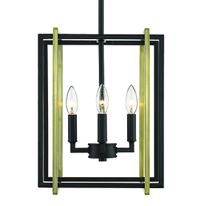 Tribeca Black and Aged Brass 12-Inch Four-Light Mini Chandelier