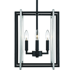 Tribeca Black and Pewter 12-Inch Four-Light Mini Chandelier