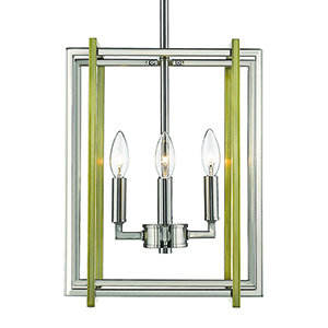 Tribeca Pewter and Aged Brass 12-Inch Four-Light Mini Chandelier