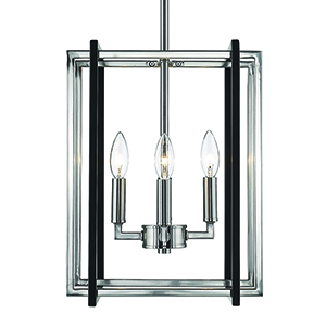 Tribeca Pewter and Black 12-Inch Four-Light Mini Chandelier