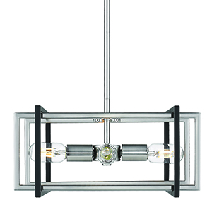 Tribeca Pewter and Black 15-Inch Four-Light Pendant